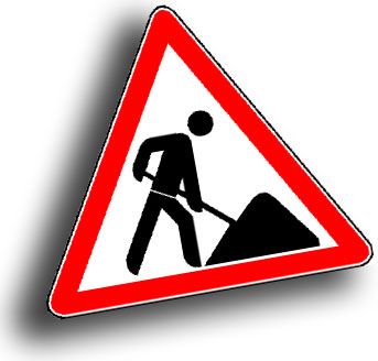 Image shows a traffic sign for a construction site