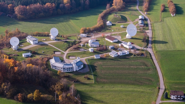 The picture shows a symbolic image of the Observatory Wettzell. (refer to: Observatory Wettzell)