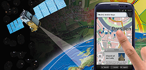 Image shows a collage with earth, satellite, map and mobile phone (refer to: Tasks and Organization)